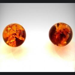 Boucle d'oreille argent et ambre