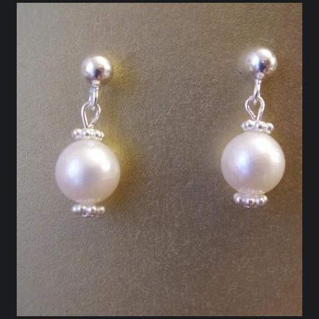 Boucles d'oreille argent et perles