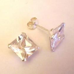 Boucle d'oreille argent massif et zirconium
