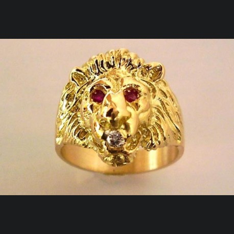 Bague or tète de lion