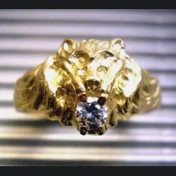 Bague or tête de lion