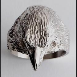 Bague or gris tête d'aigle