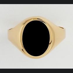 Chevalière or et onyx