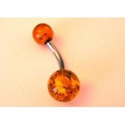 Piercing nombril acier et ambre