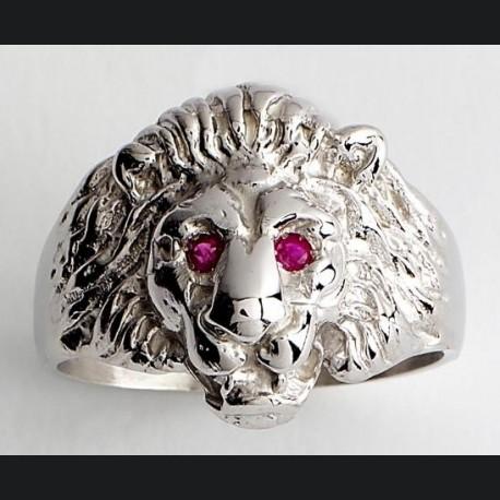 Chevalière tête de lion argent