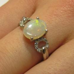 Bague argent opale naturelle