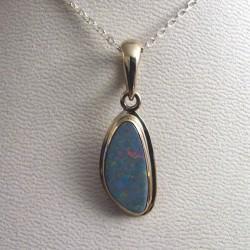 Pendentif argent et opale naturelle