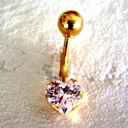Piercing nombril or et zirconium coeur