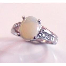 Bague argent et opale naturelle