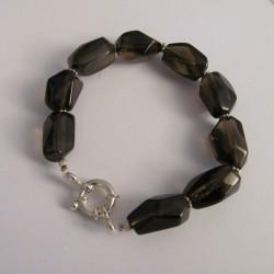 Bracelet quartz fumé et argent