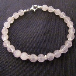 Bracelet quartz rose et argent