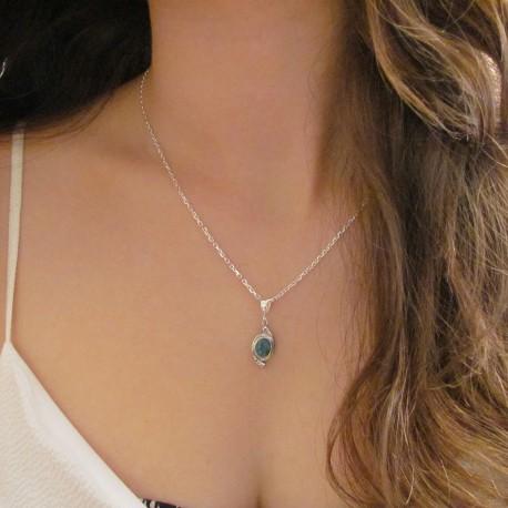 Pendentif opale argent