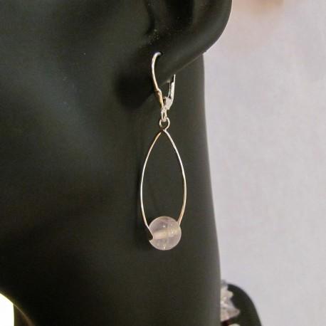 Boucles d'oreille quartz rose et argent