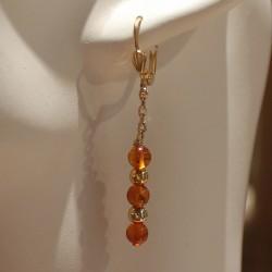 Boucles d'oreilles plaqué Or et ambre