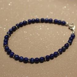 Bracelet lapis lazuli et argent massif