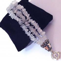 Bracelet 3 rangs baroque en pierre de lune et argent
