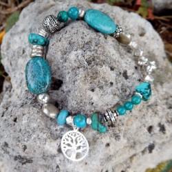 Bracelet turquoise et argent massif