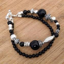 Bracelet onyx et argent massif