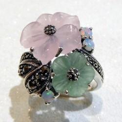 Bague fleur jade et quartz rose
