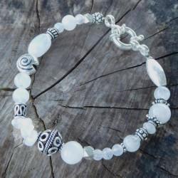 Bracelet pierre de lune et argent massif