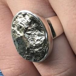 Bague pyrite et argent massif