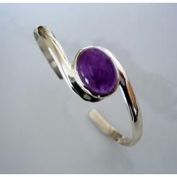 Bracelet argent et améthyste ovale