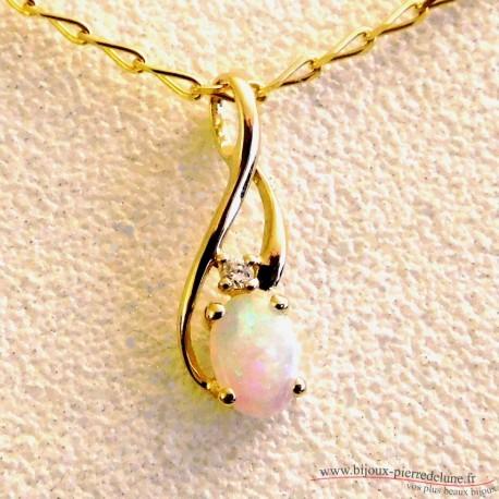 Pendentif or opale et diamant