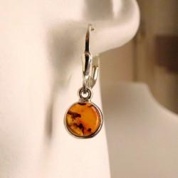 Boucles d'oreilles rondes argent et ambre