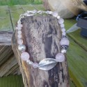 Bracelet quartz fumé et rose